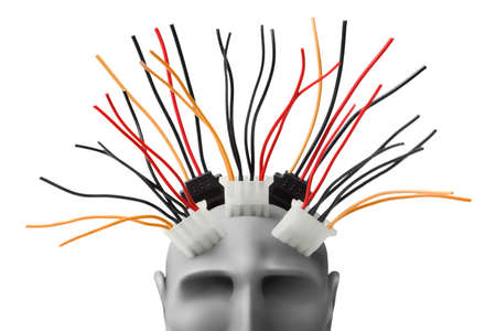 synthetic: Human head  with wires made of plasticine