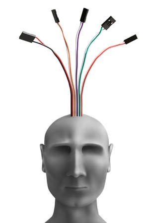 cybernetic: Human head  with wires made of plasticine