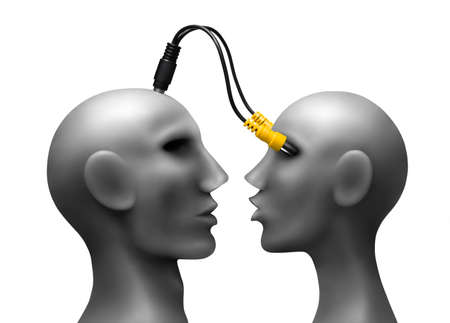 Human heads  with wires Made of plasticine Developped in Ps Stock Photo - 13570071