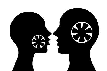 black lady talking: Silhouettes of man and woman with coolers in their heads.Raster. Stock Photo