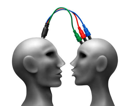 Human heads  with wires.Made of plasticine.Developped in Ps Stock Photo - 11452282