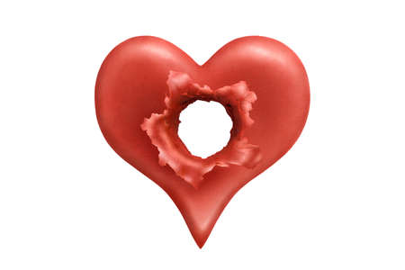 blow hole: Red plasticine heart broke through by shell