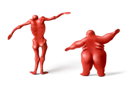 lean: Red plasticine human figures on a white background