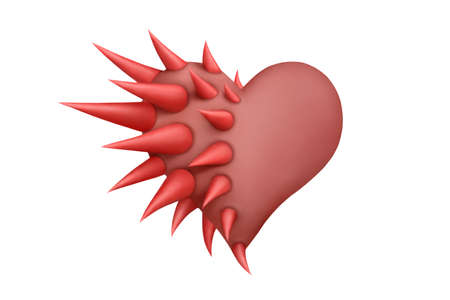 thorn tip: Red plasticine heart half-protected by thorns