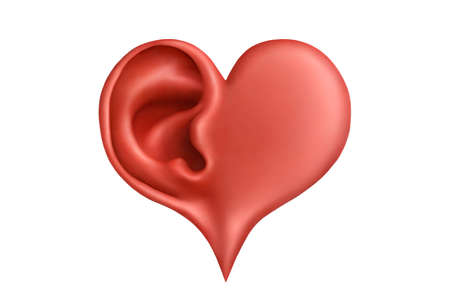 sense: Red plasticine heart and ear
