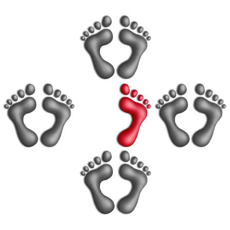 amputation: One-footed plasticine footprint among two-footed ones on a white background Stock Photo