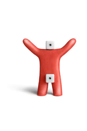 impotent: Metaphorical portray of an idiot-impotent of red plasticine and dice