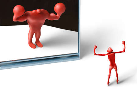 scrawny: Red plasticine man figures & a mirror between Stock Photo