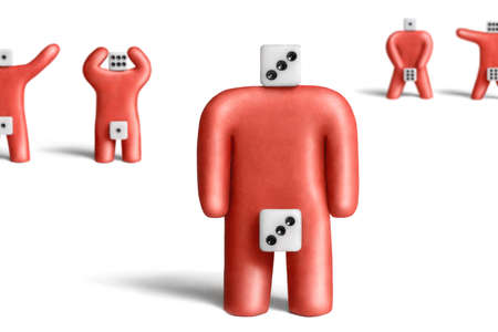 metaphorical: Metaphorical portray of an ordinary man of red plasticine and dice Stock Photo