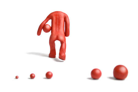 rationalism: Red plasticine man figure on a white background