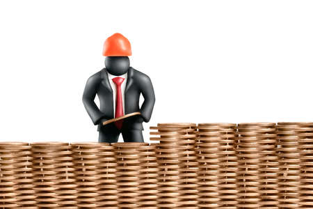 Plasticine figure of  businessman building a wall of coins Stock Photo - 11452225