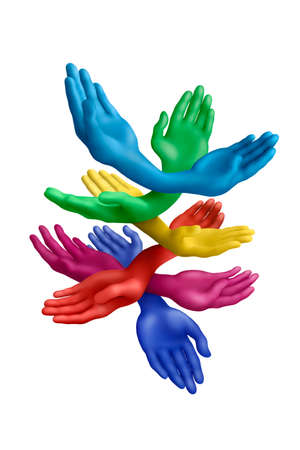 Multicolored plasticine hands on a white background Stock Photo - 11452108