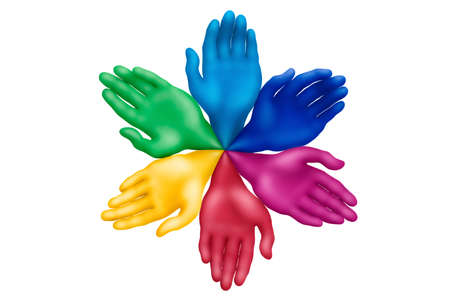 Multicolored plasticine hands on a white background photo