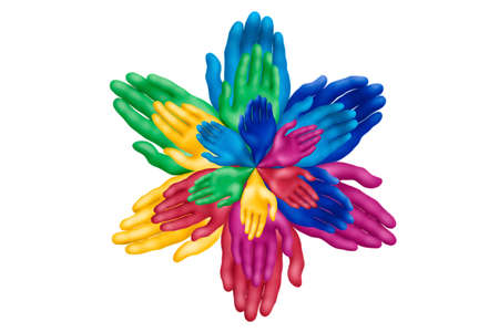 Multicolored plasticine hands on a white background Stock Photo