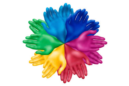 Multicolored plasticine hands on a white background