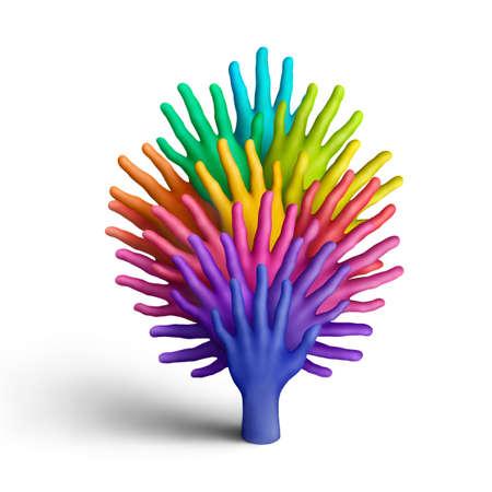 apoyo familiar: El �rbol hecho de manos multicolores de plastilina sobre un fondo blanco
