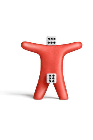 Metaphorical portray of an Superman of red plasticine and dice Stock Photo - 11451675
