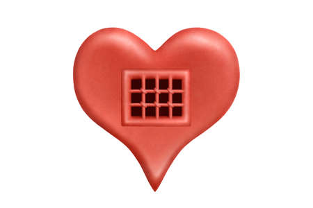 A heart as prison cell made of red plasticine