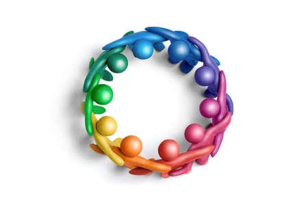 Multicolored plasticine human figures organized in a circle Stock Photo