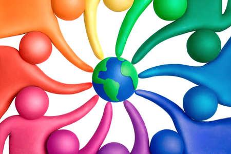 human figures: Multicolored plasticine human figures around a globe Stock Photo
