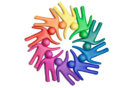 peer to peer: Multicolores figuras de plastilina humana organizada en un círculo