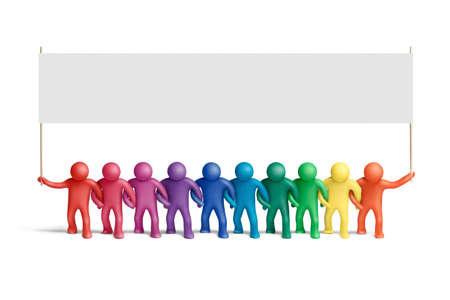 Multicolored  plasticine human figures demonstration photo