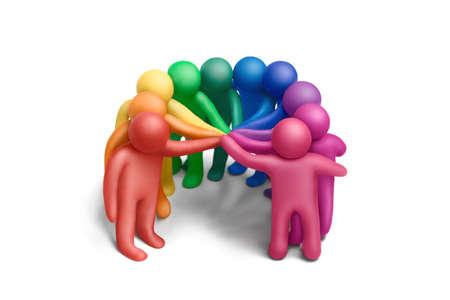 Multicolored plasticine human figures concluding a treaty Stock Photo - 11451827
