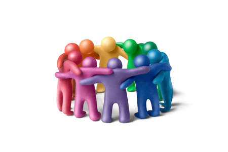 Multicolored plasticine human figures organized in a circle Stock Photo - 11452039
