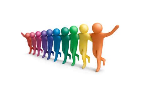 peer to peer: Figuras de plastilina de colores bailando humanos dispuestos en una fila