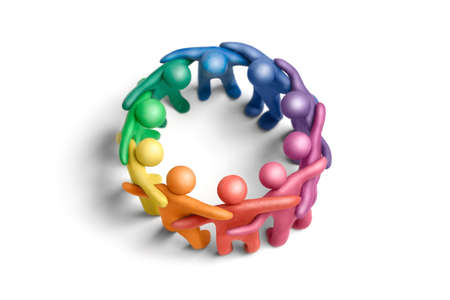 Multicolored plasticine human figures organized in a circle Stock Photo