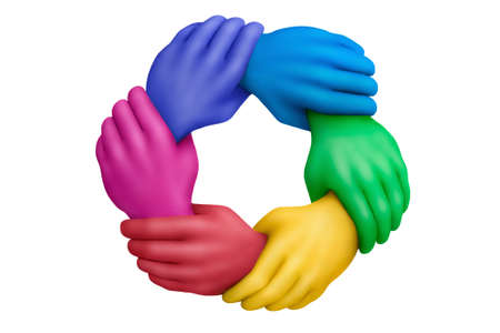 huddle: Connected muticolored plasticine hands on a white background Stock Photo