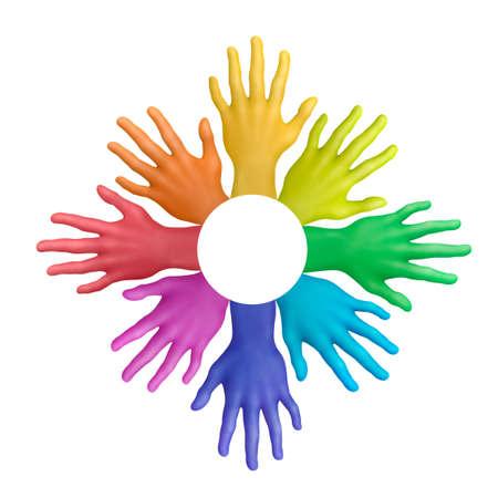 plasticine: Multicolored plasticine hands on a white background Stock Photo