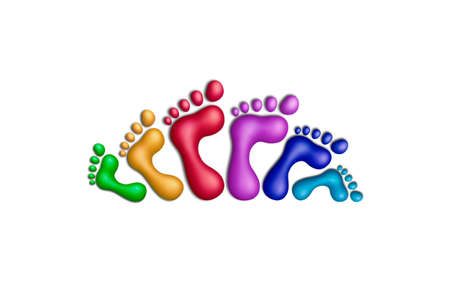 Multicolored plasticine footprints on a white background photo