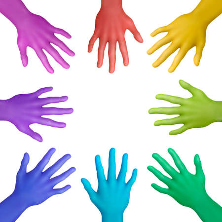 striving: Multicolored plasticine hands on a white background Stock Photo