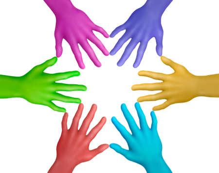 Multicolored plasticine hands on a white background photo