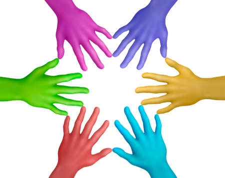 Multicolored plasticine hands on a white background Stock Photo
