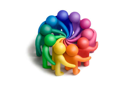 Multicolored plasticine human figures concluding an agreement on a white background photo