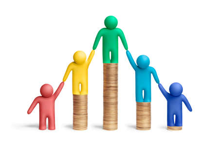 solidaridad: Multicolores figuras de plastilina humanos en una pila de monedas