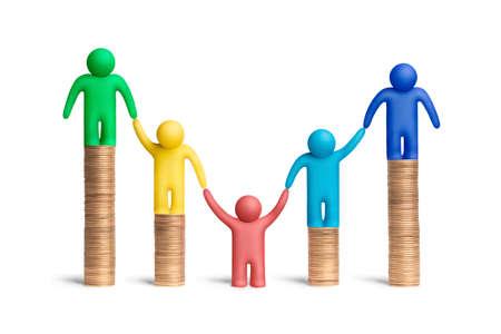 solidaridad: Multicolores figuras de plastilina humanos a pilas de monedas