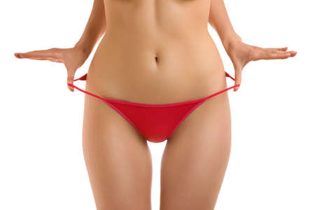 A fragment of woman  body in red panties