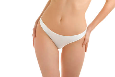 A fragment of woman  body in white panties