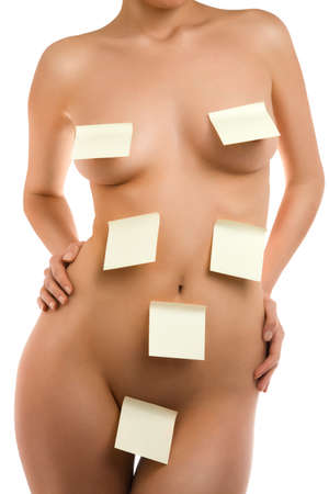 A fragment of woman  body with a stick notes photo