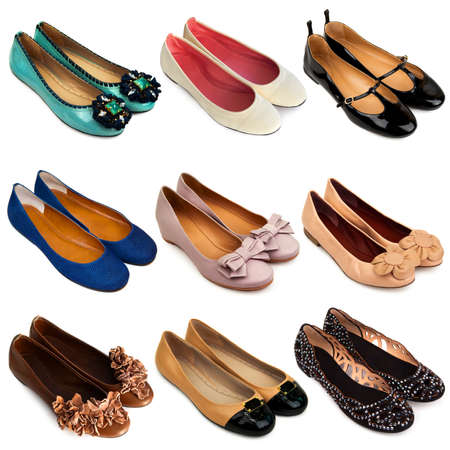 women s fashion: Set of multicolored,female ballet flat shoes on a white background 9 pieces