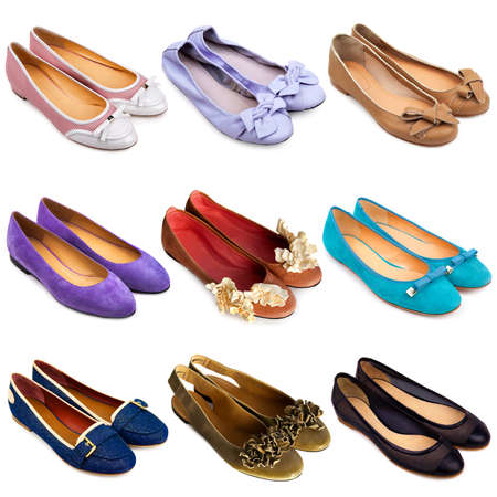 multiplicity: Set of multicolored,female ballet flat shoes on a white background 9 pieces