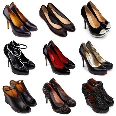 Set of dark,differrent female shoes on a white background 9 pieces  photo