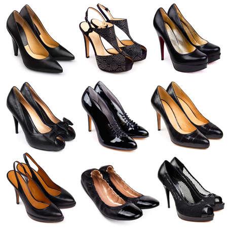 tacones: Juego de zapatos negros, mujeres differrent sobre un fondo blanco 9 piezas