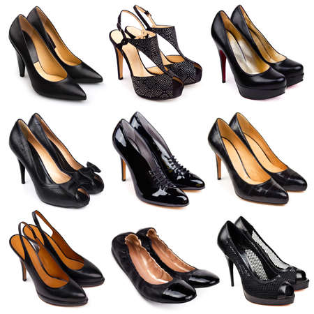 Set of dark,differrent female shoes on a white background 9 pieces