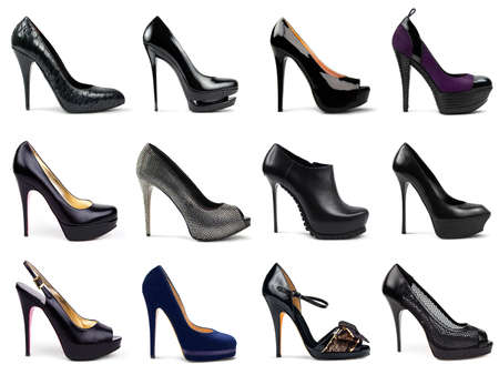 Set of dark,differrent female shoes on a white background in a profile 12 pieces  photo