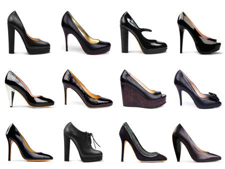 stilleto: Set of dark,differrent female shoes on a white background in a profile 12 pieces