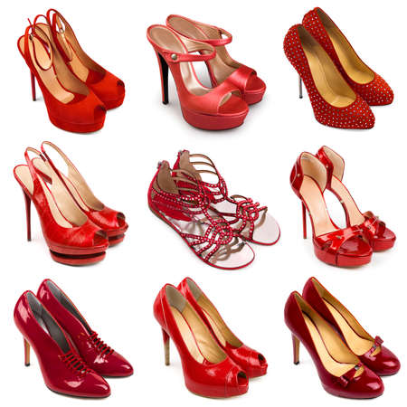 Set of red,female shoes on a white background 9 pieces  photo
